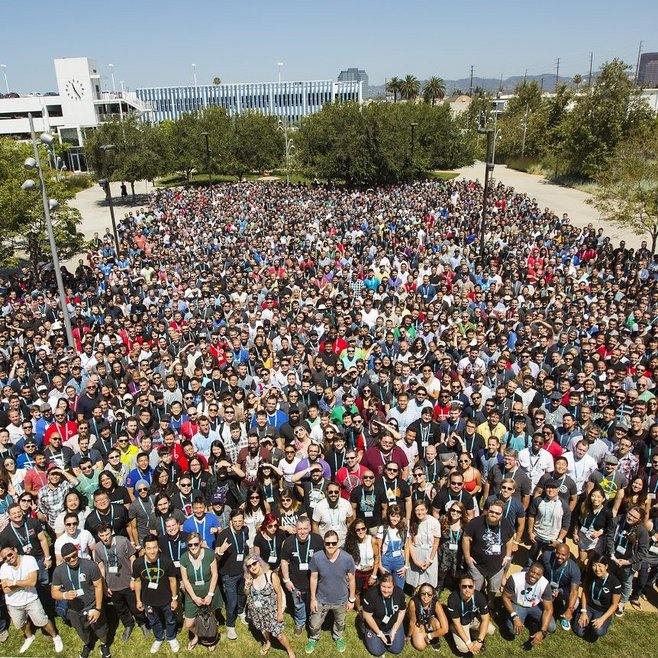 Rioters gather at Riot's LA headquarters for a group picture